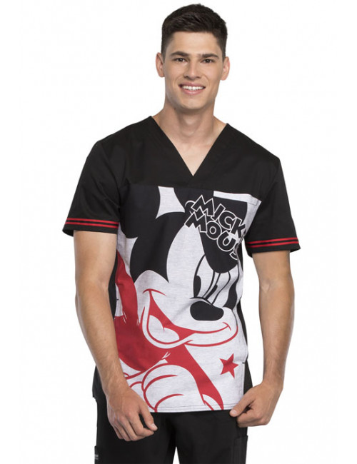 "Men's Medical V-neck ""Mickey Star"" print, ""Tooniforms-Disney"" Collection (TF707)"