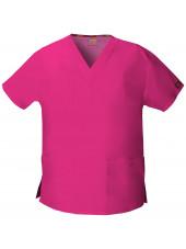 """Blouse médicale Col V Femme, Dickies, 2 poches, Collection """"EDS signature"""" (86706), couleur fushia, vue produit"""