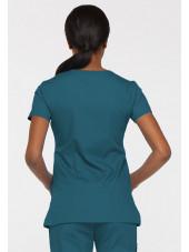 """Blouse médicale Cache Coeur Femme, Dickies, collection """"EDS signature"""" (85820), couleur vert caraïbe vue gauche"""