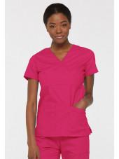 """Blouse médicale Cache Coeur Femme, Dickies, collection """"EDS signature"""" (85820), couleur fuchsia vue modèle 2"""