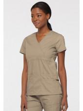 """Blouse médicale Cache Coeur Femme, Dickies, collection """"EDS signature"""" (85820), couleur beige vue gauche"""