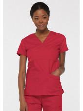 """Blouse médicale Cache Coeur Femme, Dickies, collection """"EDS signature"""" (85820), couleur rouge vue face"""