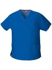 """Blouse médicale Col V Femme, Dickies, 2 poches, Collection """"EDS signature"""" (86706), couleur bleu royal, vue produit"""
