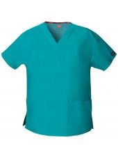 """Blouse médicale Col V Femme, Dickies, 2 poches, Collection """"EDS signature"""" (86706), couleur teal blue, vue produit"""
