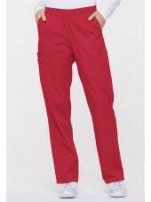 """Pantalon médical Unisexe élastique, Dickies, Collection """"EDS signature"""" (86106), couleur rouge, vue face"""