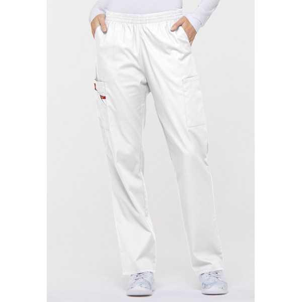 """Pantalon médical Unisexe élastique, Dickies, Collection """"EDS signature"""" (86106), couleur blanc, vue face"""