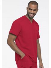"Col V Médical homme, Collection ""Dynamix"" (DK610) rouge gauche"
