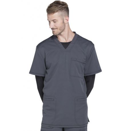 "Col V Médical homme 3 poches, Collection ""Dynamix"" (DK640) gris face"