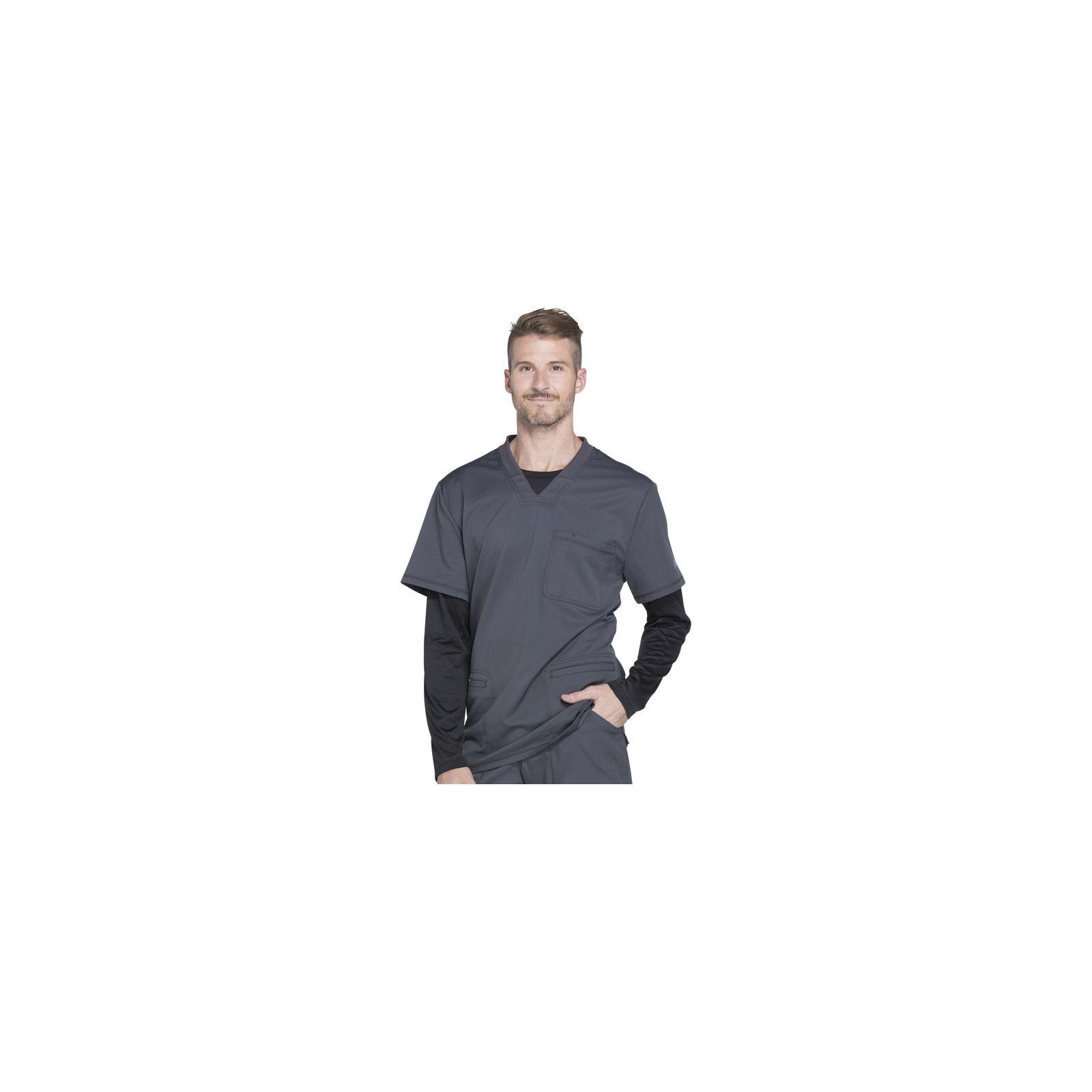 """Col V Médical homme 3 poches, Collection """"Dynamix"""" (DK640) gris droite"""