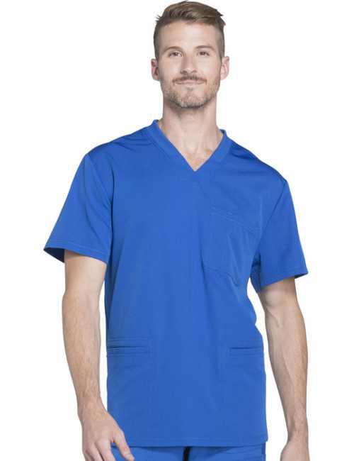 "Col V Médical homme 3 poches, Collection ""Dynamix"" (DK640) bleu royal face"