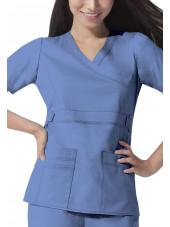 """Blouse médicale Femme Dickies, collection """"GenFlex"""" (817355) bleu ciel face"""