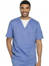 """Col V médical pour homme Dickies, Collection """"Gen flex"""" (81722) bleu ciel face"""