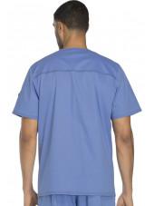 """Col V médical pour homme Dickies, Collection """"Gen flex"""" (81722) bleu ciel dos"""