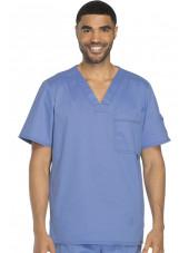 """Col V médical pour homme Dickies, Collection """"Gen flex"""" (81722) bleu ciel face 2"""