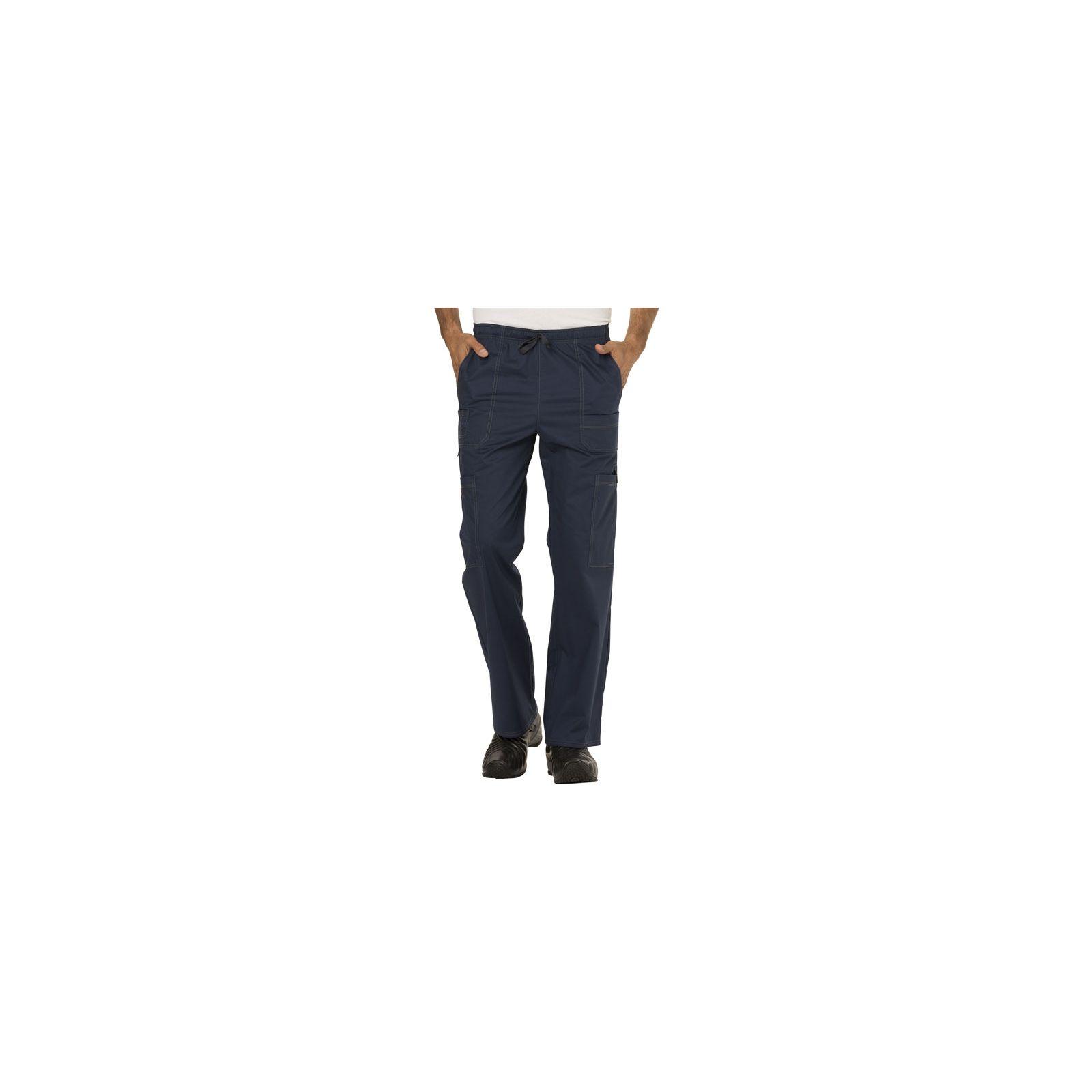 """Pantalon médical élastique et cordon Homme, Dickies, Collection """"GenFlex"""" (81003) bleu marine face"""
