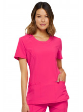 "Blouse médicale antimicrobienne col rond, Cherokee, collection ""Infinity"" (2624A), vue de face, couleur rose"