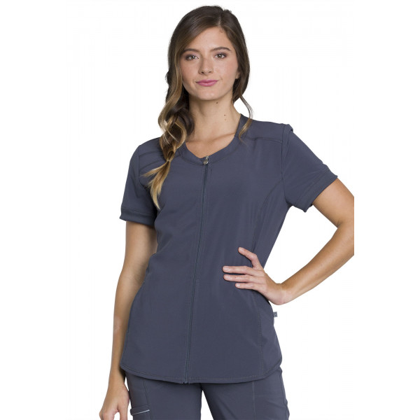 """Blouse médicale femme Antibactérienne, Cherokee, Collection """"Infinity"""" (CK810A) gris anthracite face"""