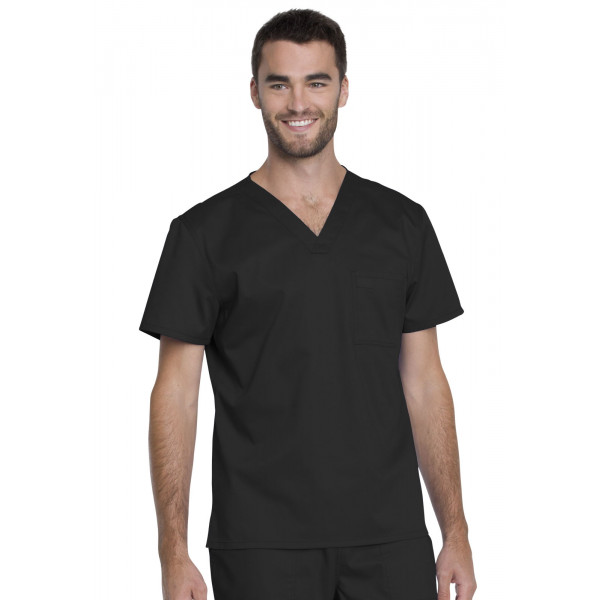 "Blouse médicale Unisexe, Dickies, Collection ""Genuine"" (GD620), couleur noir vue face"