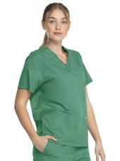 """Blouse médicale 2 poches Femme, Dickies, Collection """"Genuine"""" (GD640), couleur vert vue droit"""