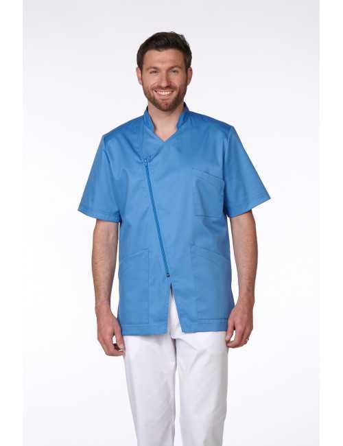 Blouse Médicale Homme Trendy, couleur Curaçao, vue de face, Camille Lavandie (2620)