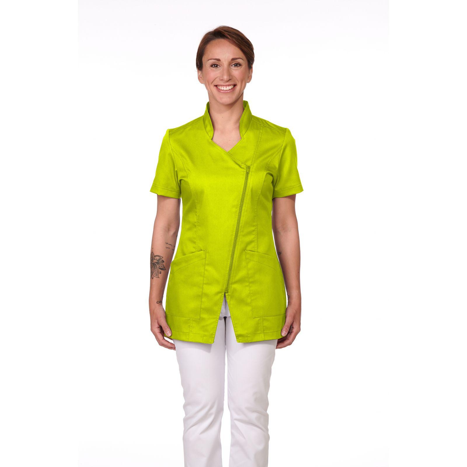 Blouse Médicale Femme, Trendy, couleur Citron Vert, vue de face, Camille Lavandie (2619)