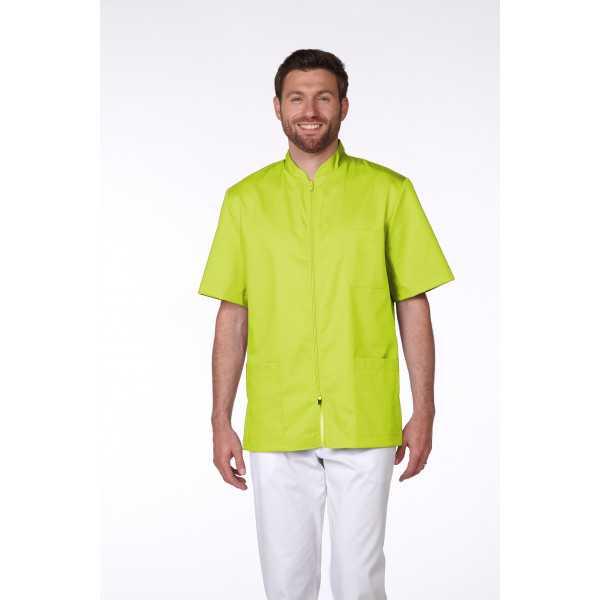 Blouse Médicale Homme Trendy, couleur Citron Vert, vue de face, Camille Lavandie (047)