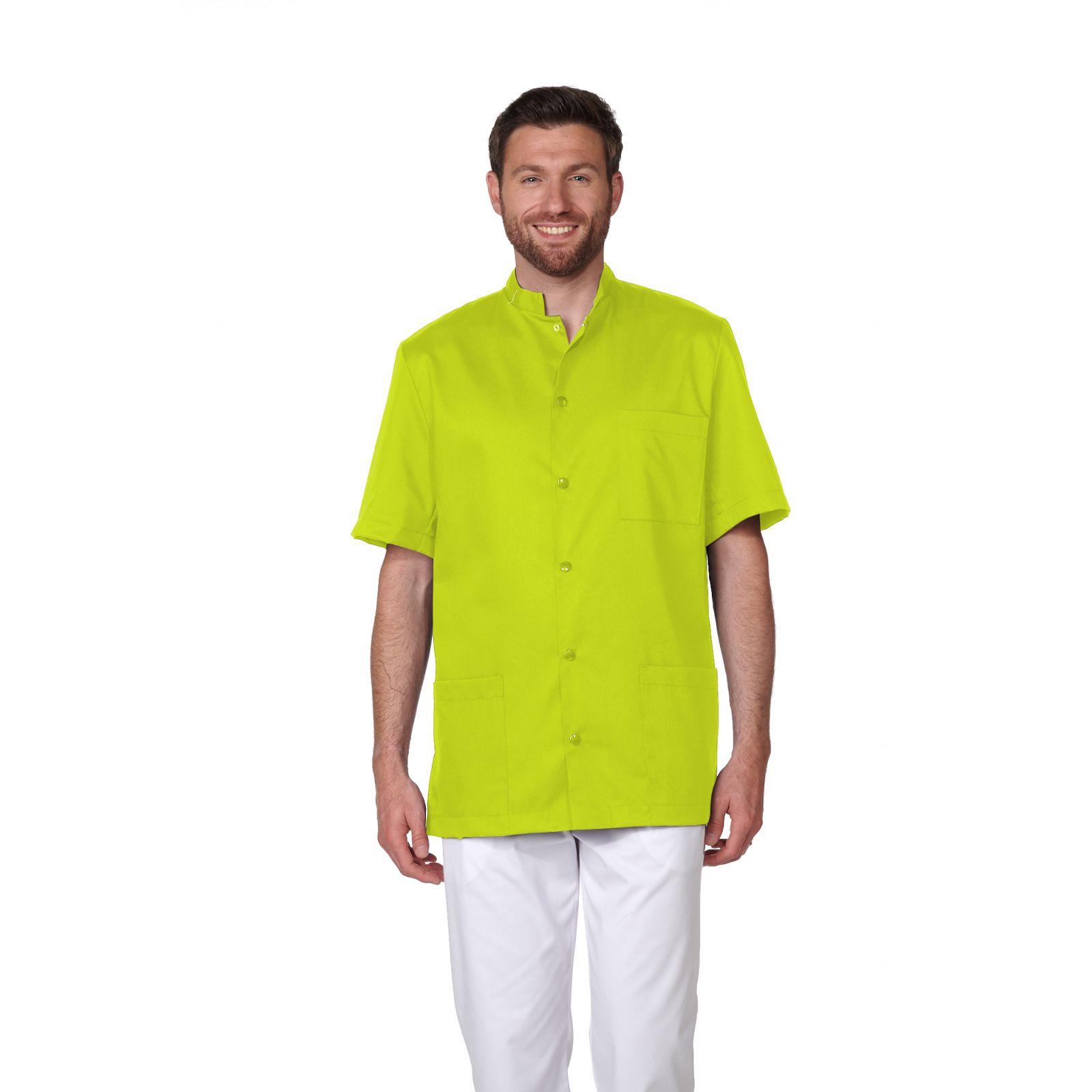 Blouse Médicale Homme Trendy, couleur Citron Vert, vue de face, Camille Lavandie (007)