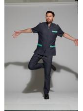 Blouse Médicale Homme Denim Bicolore, Trendy, couleur Effet jean / Eau de Nil, Camille Lavandie (047)