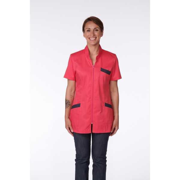 Blouse Médicale Femme Denim Bicolore, Trendy, couleur Framboisine / Effet jean, Camille Lavandie (2611)