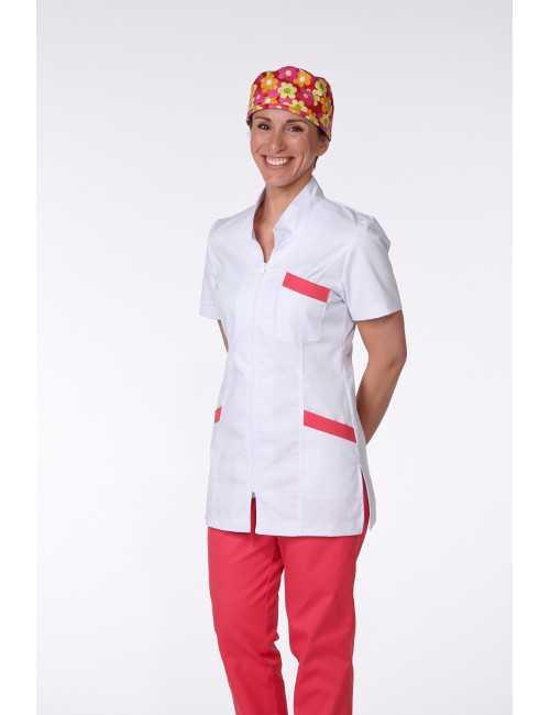 Blouse Médicale, Femme, Bicolore, Trendy, couleur Coconut / Framboisine, vue de profil, Camille Lavandie (2611)