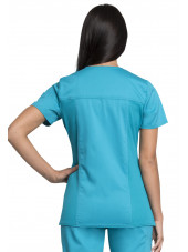 "Blouse médicale femme, Cherokee ""Revolution tech"" (WW775AB) turquoise dos"