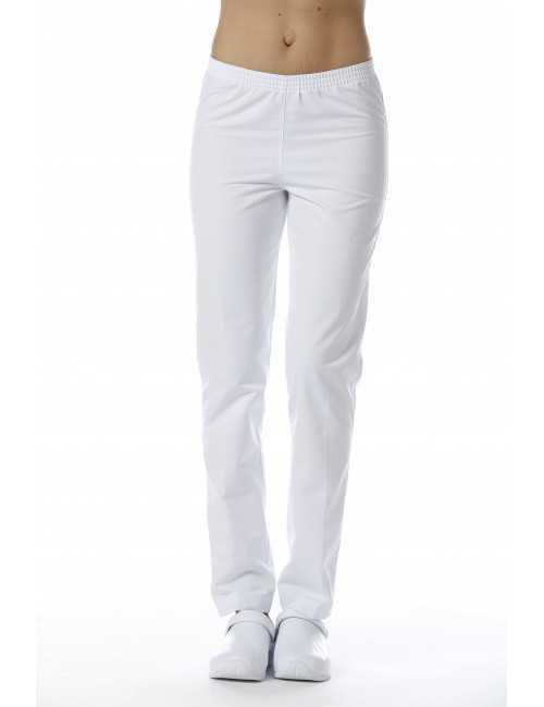 Pantalon Médical Unisexe Sweety, couleur Fleur de coton, vue de face femme, Camille Lavandie (078)