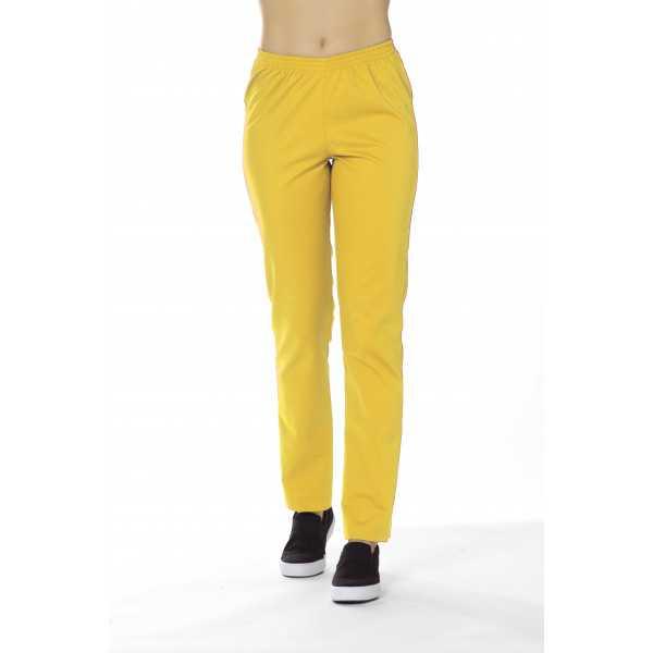 Pantalon Médical Unisexe Sweety, couleur Jaune Tournesol, vue de face, Camille Lavandie (078)