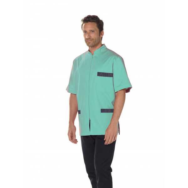 Blouse Médicale Homme Dénim Bicolore, Trendy, Camille Lavandie (047)