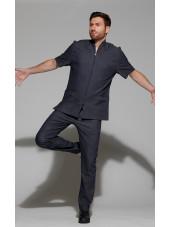 Blouse Médicale Homme Denim Uni, Trendy, couleur effet jean, vue de face, Camille Lavandie (047)