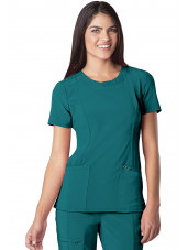 "Blouse médicale antimicrobienne col rond, Cherokee, collection ""Infinity"" (2624A), vue de face, couleur teal blue"