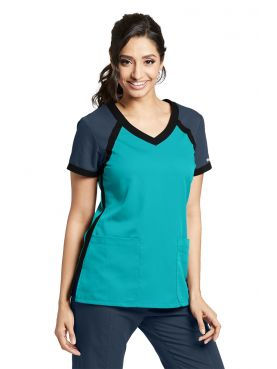 "Blouse médicale femme, bicolore couleur teal blue, collection ""Grey's Anatomy Classic"" (41435-)"