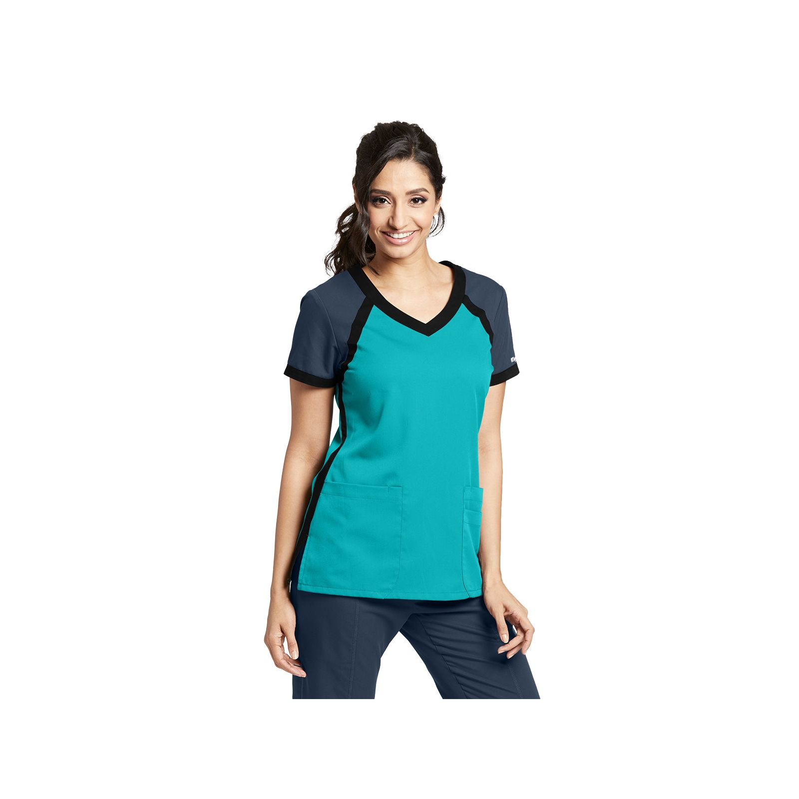 "Blouse médicale femme, bicolore couleur teal blue, collection ""Grey's Anatomy Classic"" (41435-)"