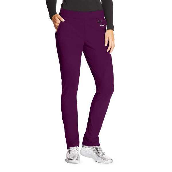 """Pantalon médical femme, couleur bordeaux vue de face, collection """"Grey's Anatomy Edge"""" (GEP005-)"""