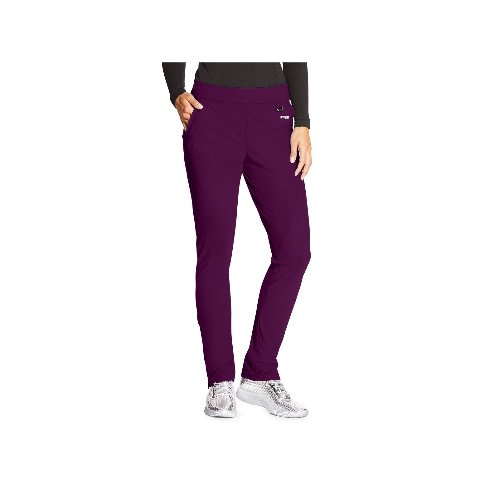 "Pantalon médical femme, couleur bordeaux vue de face, collection ""Grey's Anatomy Edge"" (GEP005-)"
