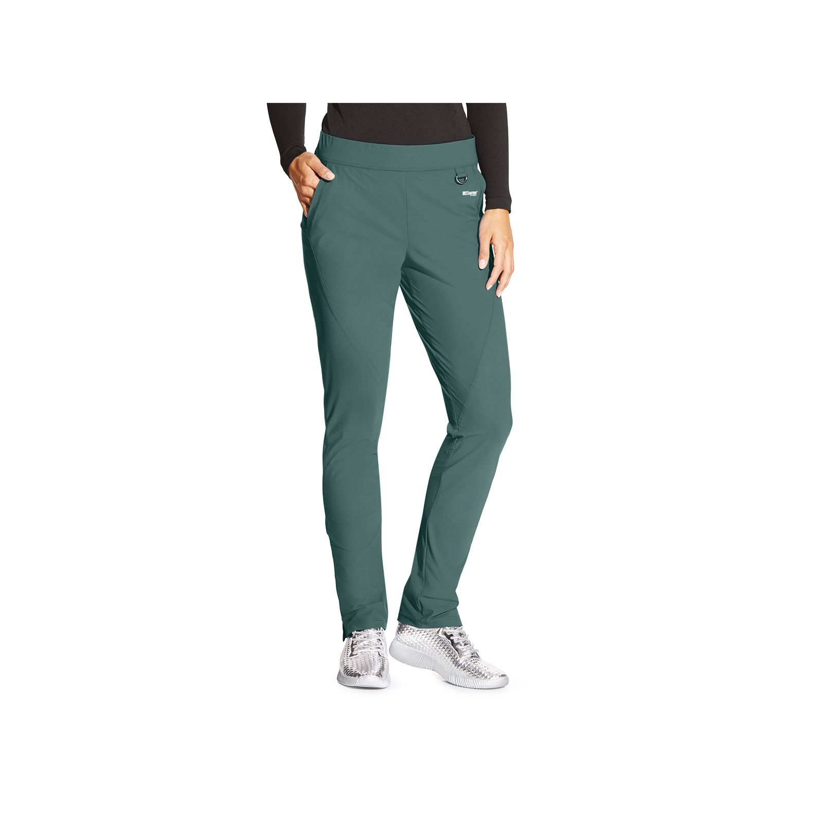 "Pantalon médical femme, couleur vert olive vue de face, collection ""Grey's Anatomy Edge"" (GEP005-)"