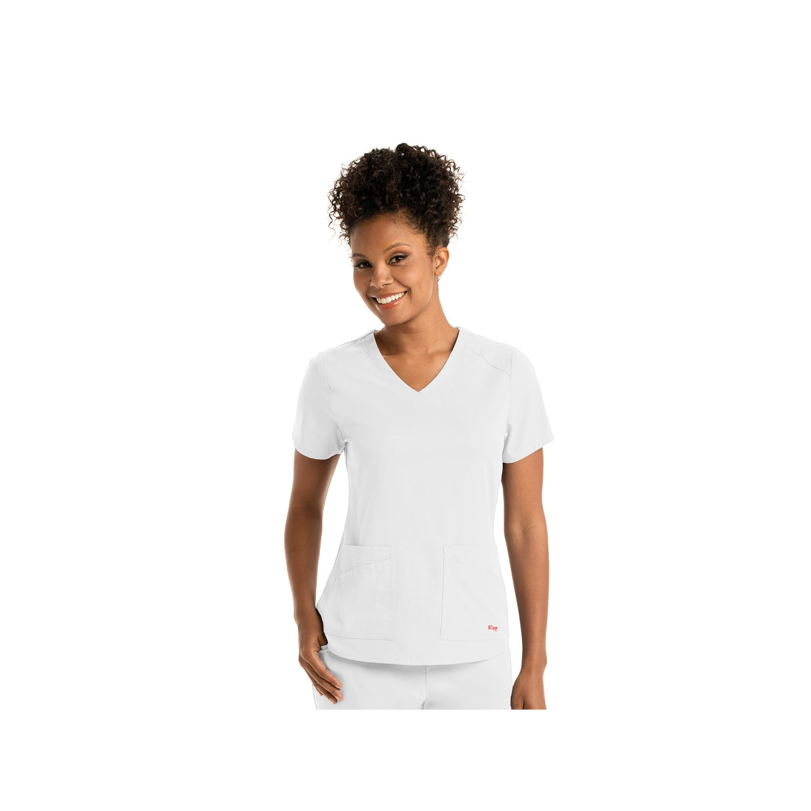 "Blouse médicale femme, couleur blanc vue de face, collection ""Grey's Anatomy Stretch"" (GRST011-)"