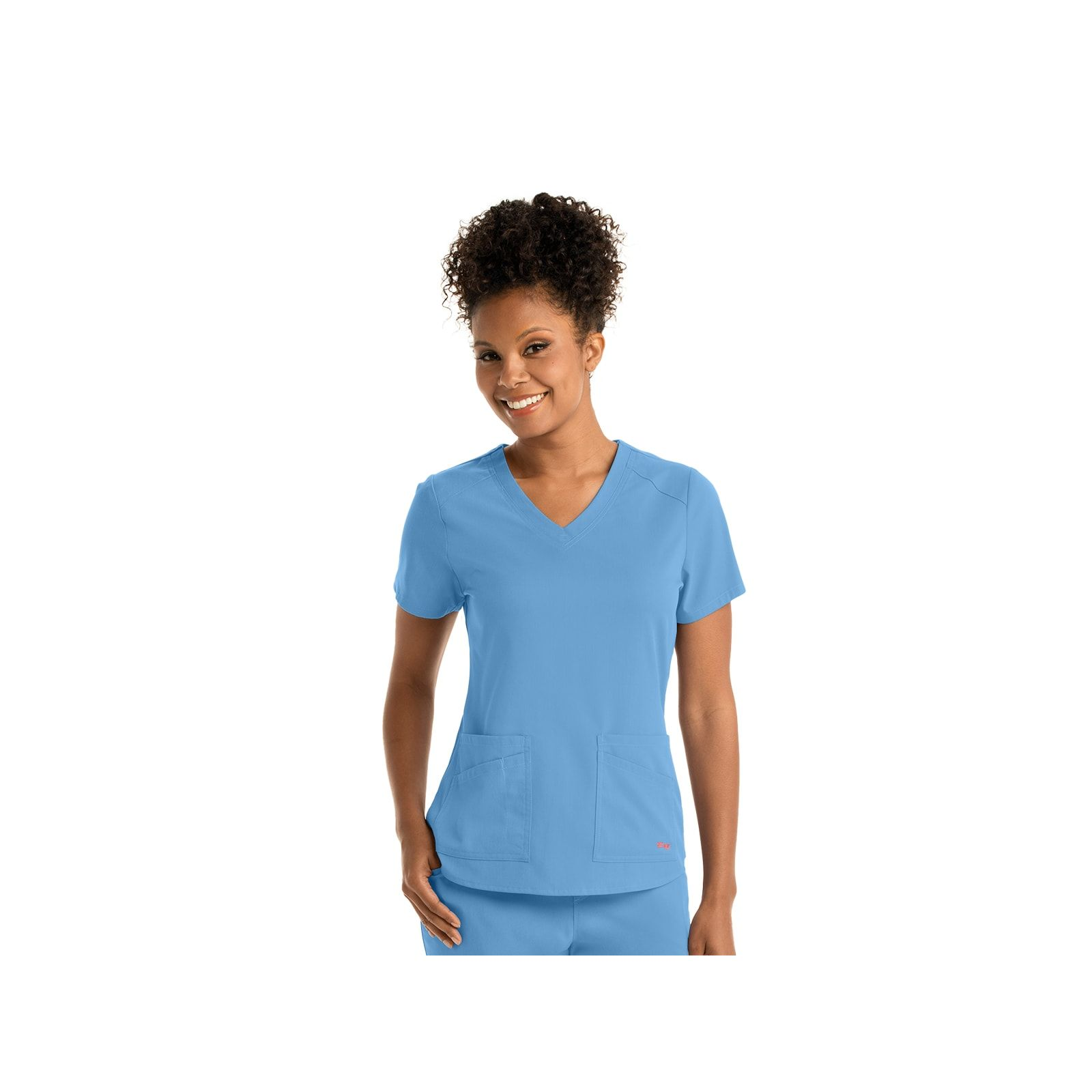 "Blouse médicale femme, couleur bleu ciel vue de face, collection ""Grey's Anatomy Stretch"" (GRST011-)"