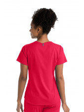 "Blouse médicale femme, couleur rouge vue de dos, collection ""Grey's Anatomy Stretch"" (GRST011-)"