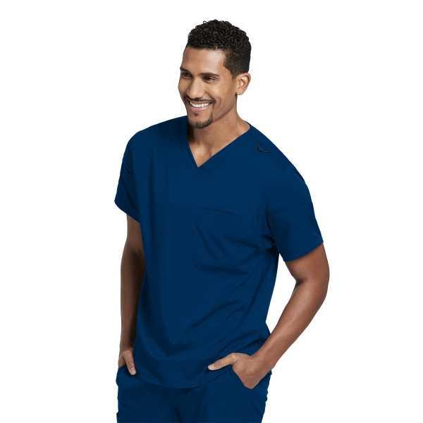 """Blouse médicale femme, couleur bleu marine vue de face, collection """"Grey's Anatomy Stretch"""" (GRST009-)"""