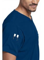"""Blouse médicale femme, couleur bleu marine vue détail, collection """"Grey's Anatomy Stretch"""" (GRST009-)"""