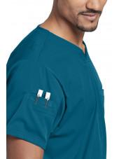 """Blouse médicale femme, couleur vert caraïbe vue détail, collection """"Grey's Anatomy Stretch"""" (GRST009-)"""