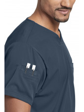 "Blouse médicale femme, couleur gris anthracite vue détail, collection ""Grey's Anatomy Stretch"" (GRST009-)"