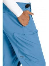 """Pantalon médical homme, couleur bleu ciel vue détail, collection """"Grey's Anatomy Stretch"""" (GRSP507-)"""