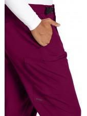 """Pantalon médical homme, couleur bordeaux vue détail, collection """"Grey's Anatomy Stretch"""" (GRSP507-)"""